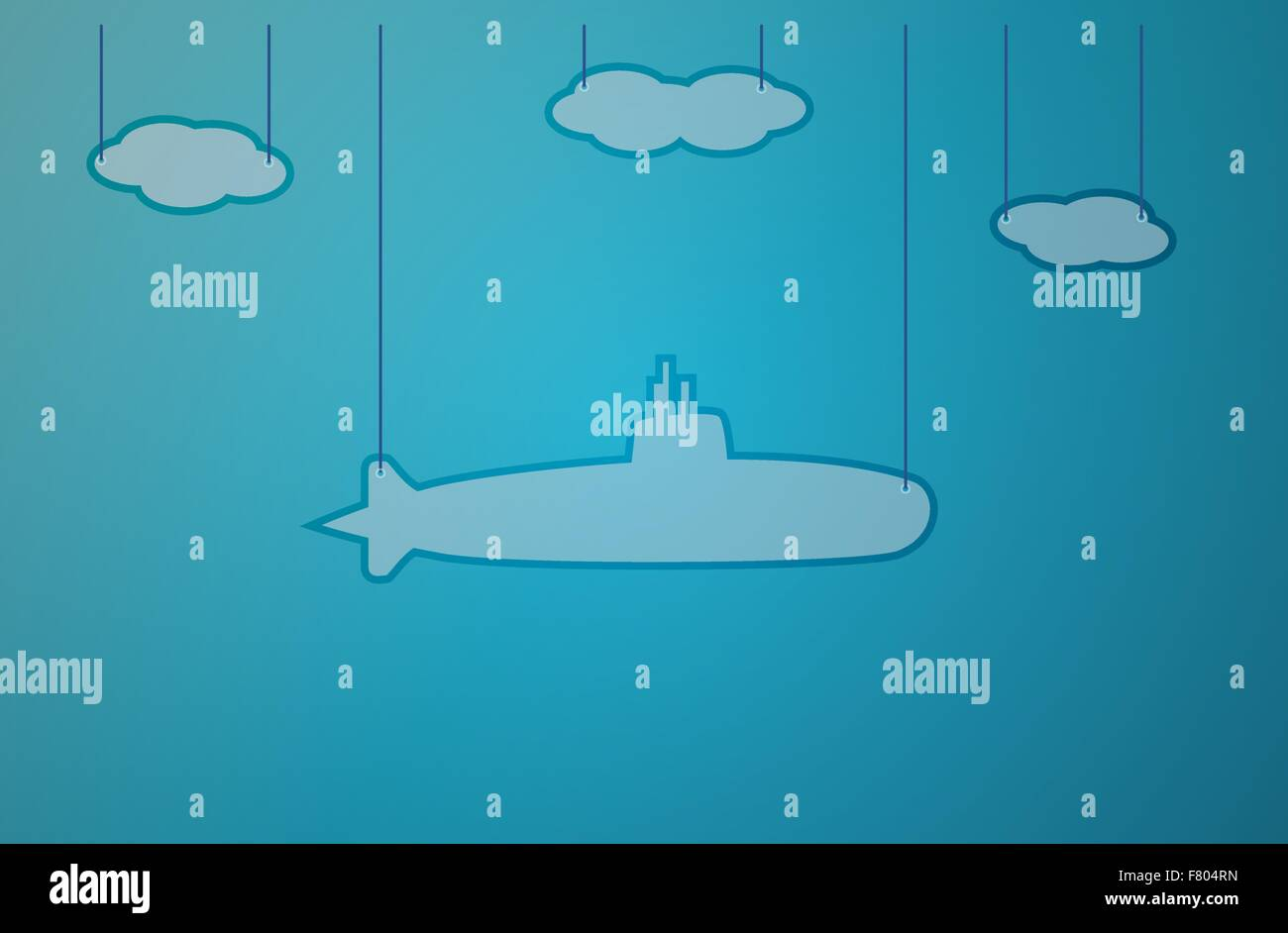 blue background with submarine Stock Vector