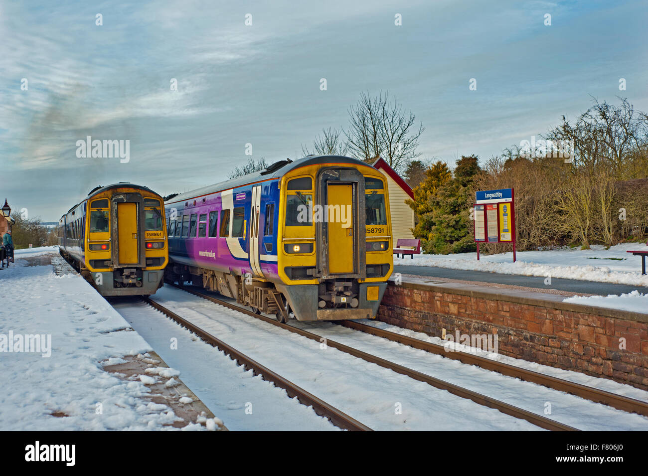 Class 158 Sprinters at Langwathby, Settle to Carlisle railway - Stock Image