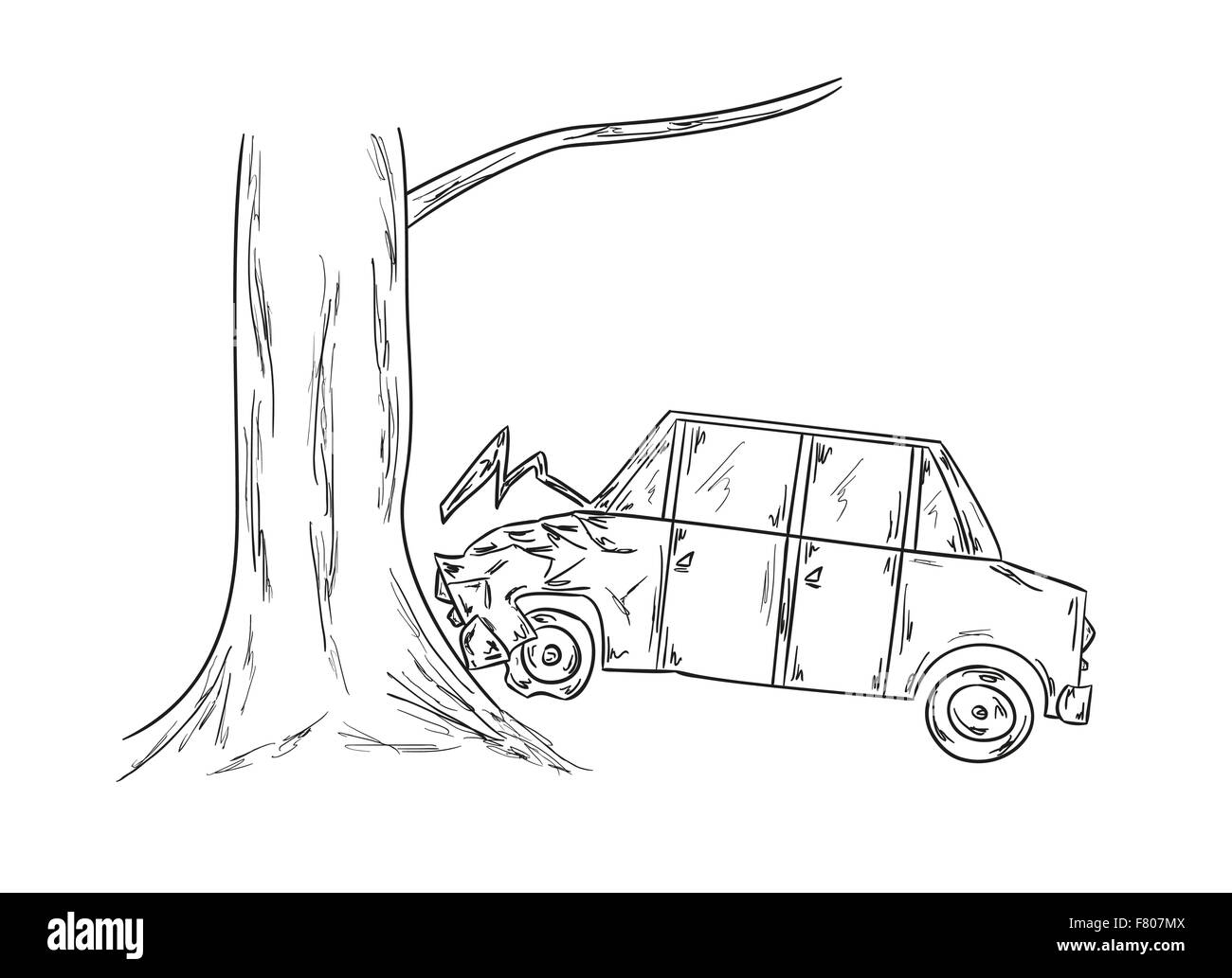 car accident sketch Stock Vector Art & Illustration, Vector Image ...