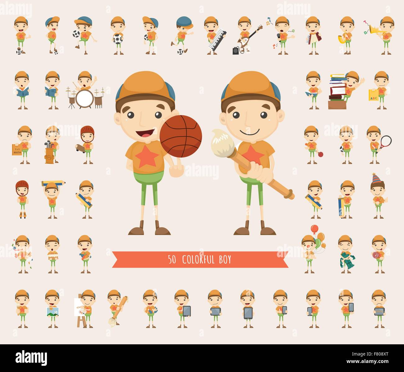 Set of boy character collection - Stock Image