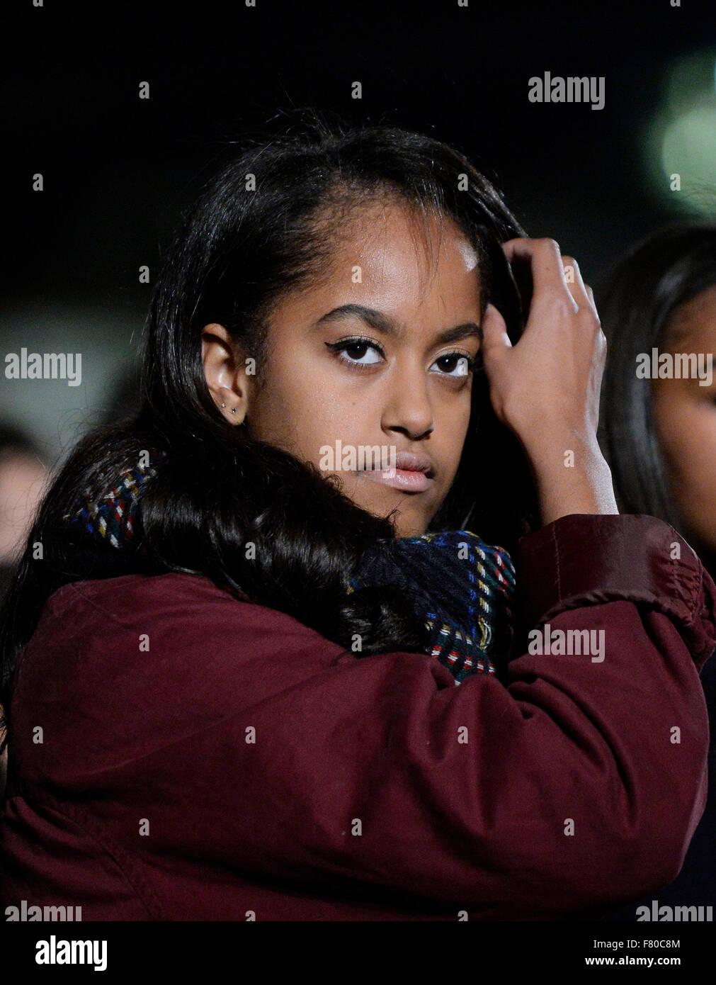 Washington Dc 3rd Dec 2015 First Daughter Malia Obama Looks On