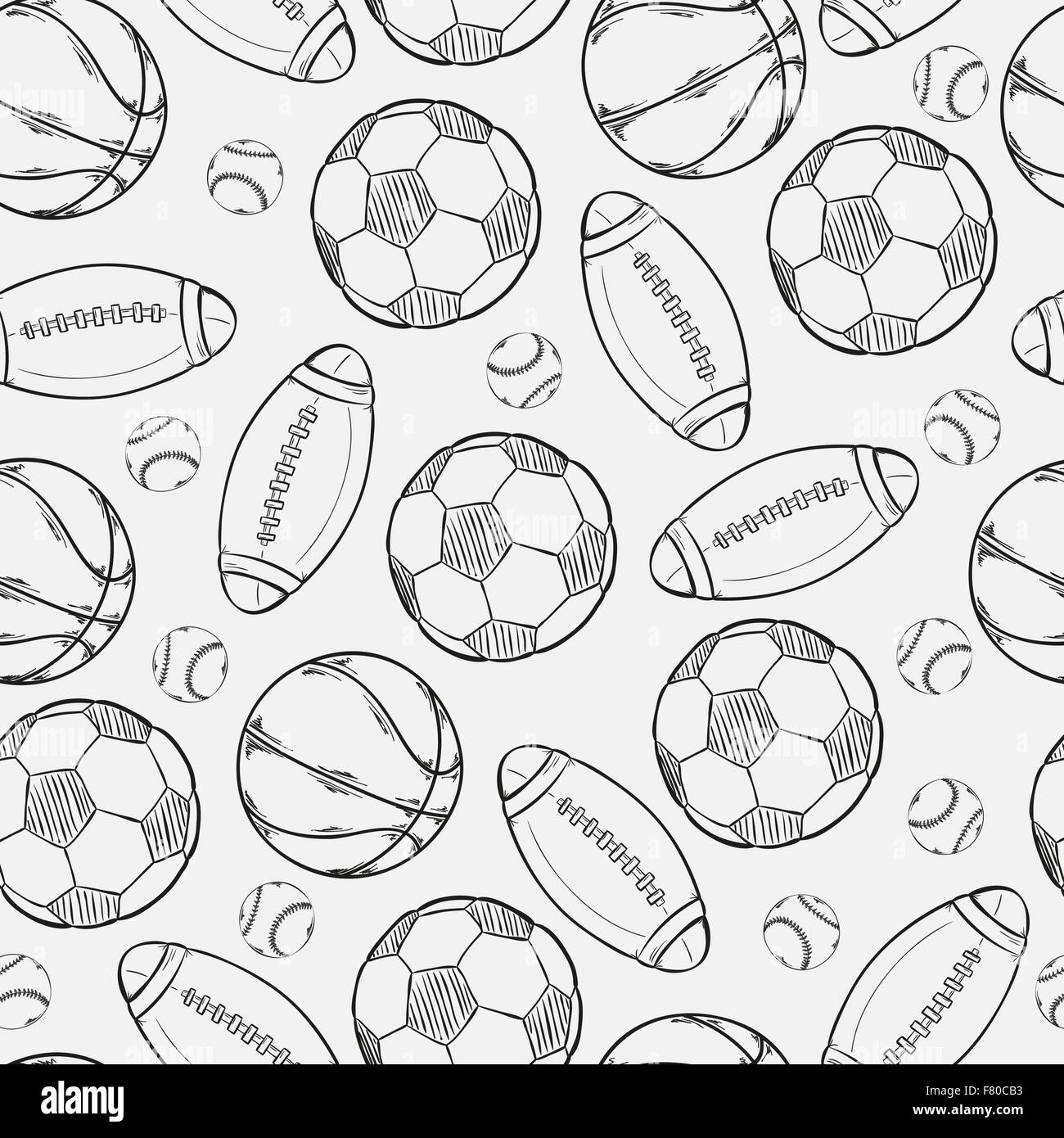 sketch of different balls - Stock Image