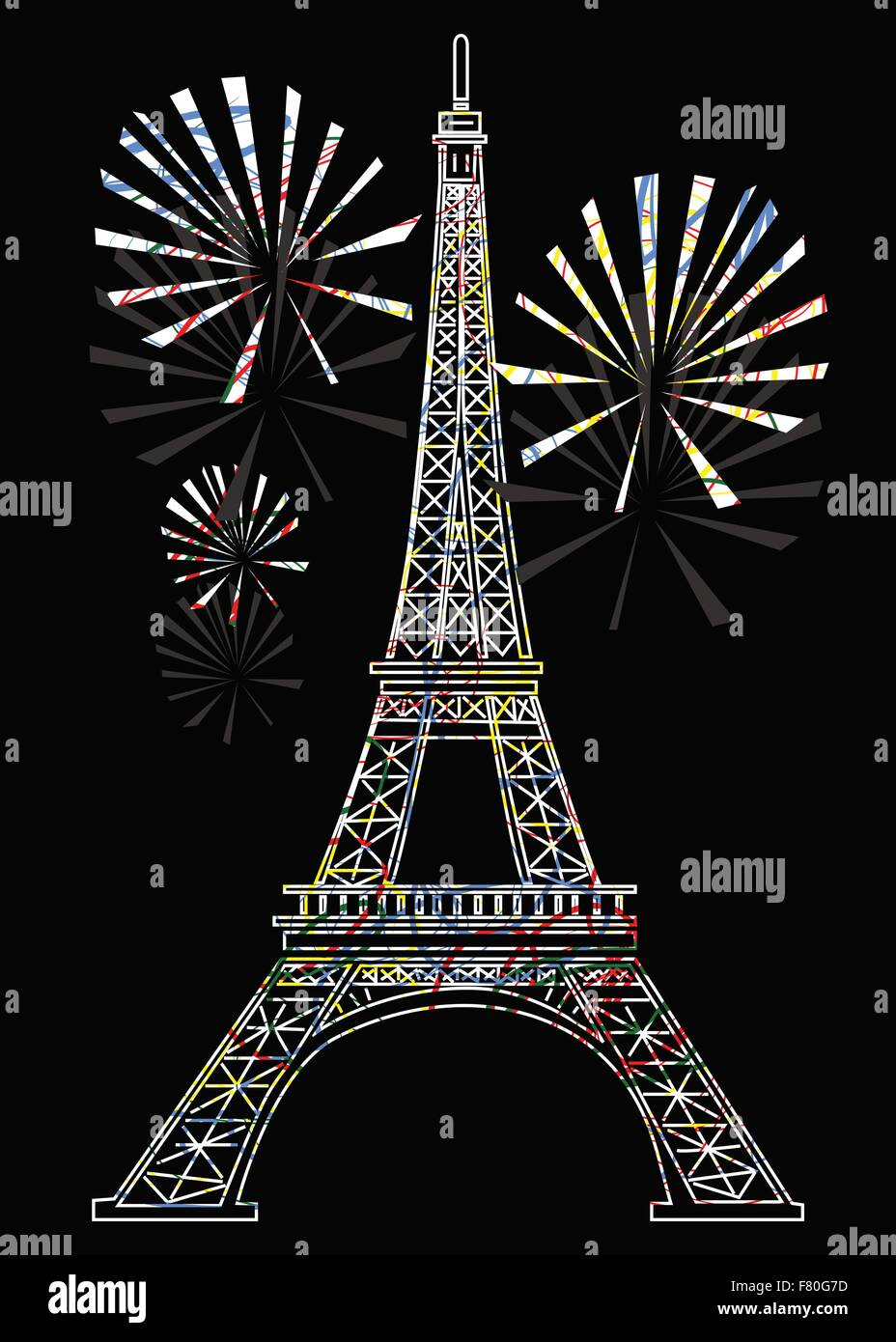 colorful eiffel tower - Stock Vector