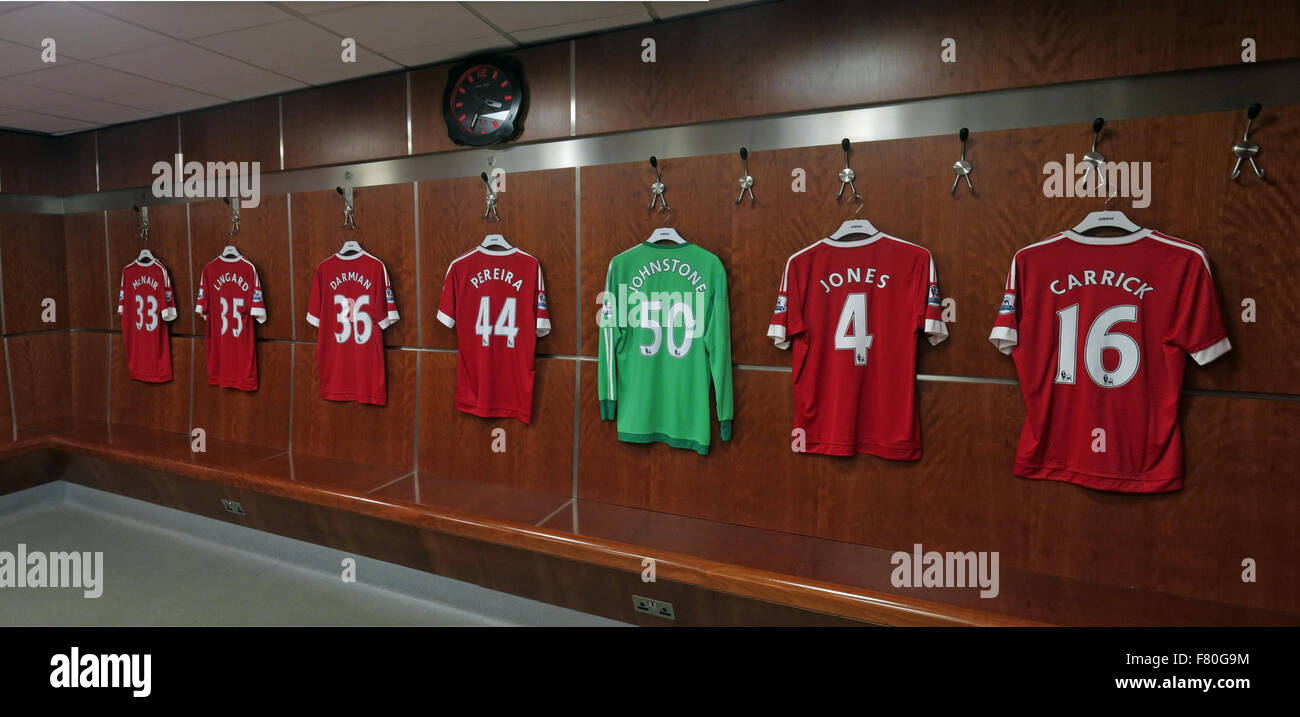 Soccer Shirts in Manchester United Dressing Room, Old Trafford, Manchester, England,UK Stock Photo