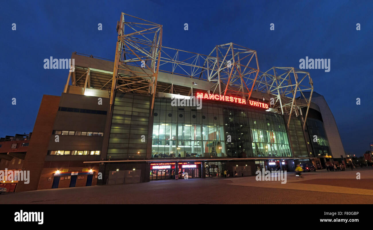 Old Trafford,home of MUFC,Manchester United at dusk, England,UK (East stand) - Stock Image
