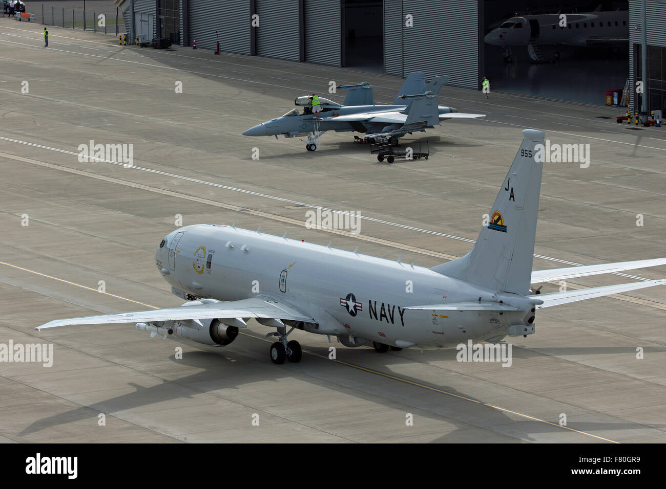 Boeing P-8 Orion maritime patrol aircraft & Boeing F/A-18F Super Hornet - Stock Image
