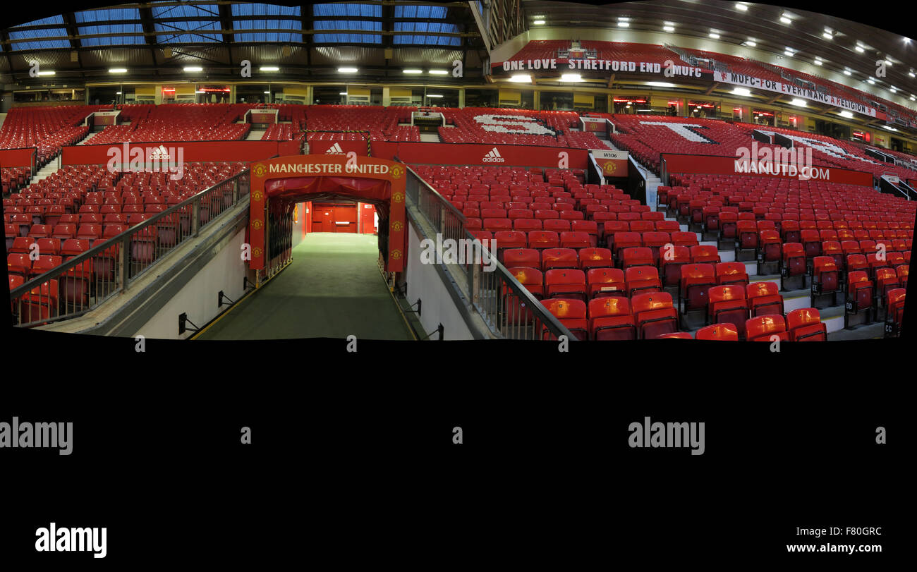 Manchester United,Old Trafford,Players Tunnel panorama - Stock Image