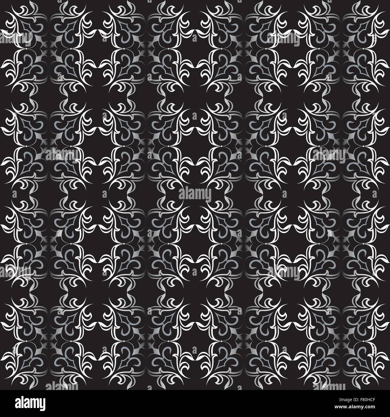 Ornate black and white seamless wallpaper pattern - Stock Image