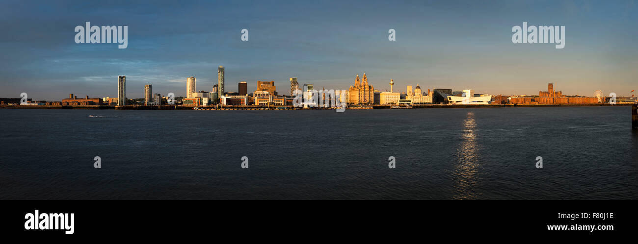 Liverpool City from the Mersey at Sunset, England United Kingdom - Stock Image