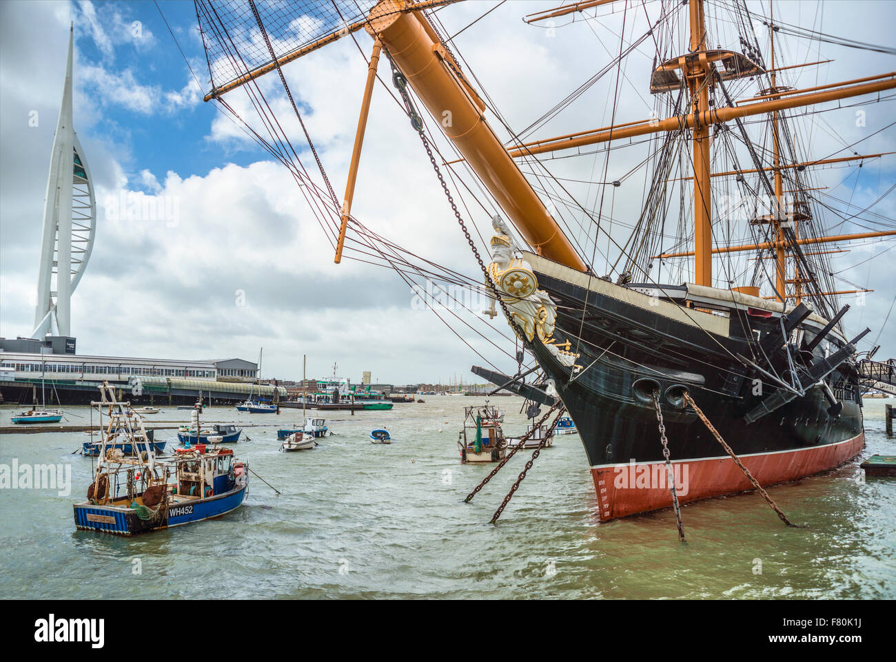 HMS Warrior at Portsmouth Historic Dockyard, England, UK. It was the Royal Navy's first ironclad ocean-going - Stock Image