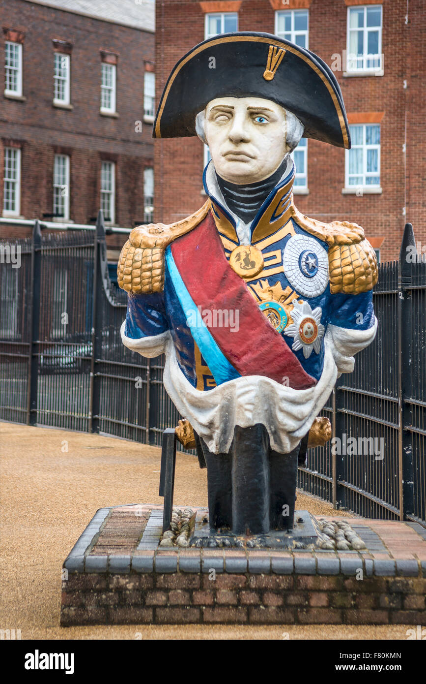 Figurehead of Lord Nelson at the Historical Dockyard Museum, Portsmouth, Hampshire, England, United Kingdom - Stock Image