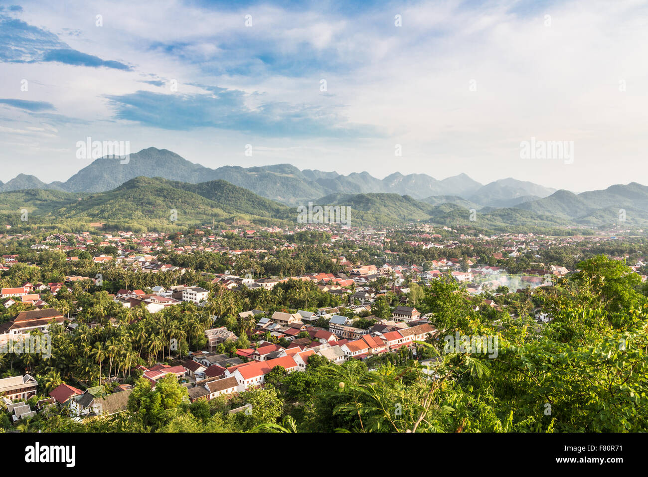 An aerial view of Luang Prabang in Laos. The city lies along the Mekong river and is one of the counrtry main travel - Stock Image