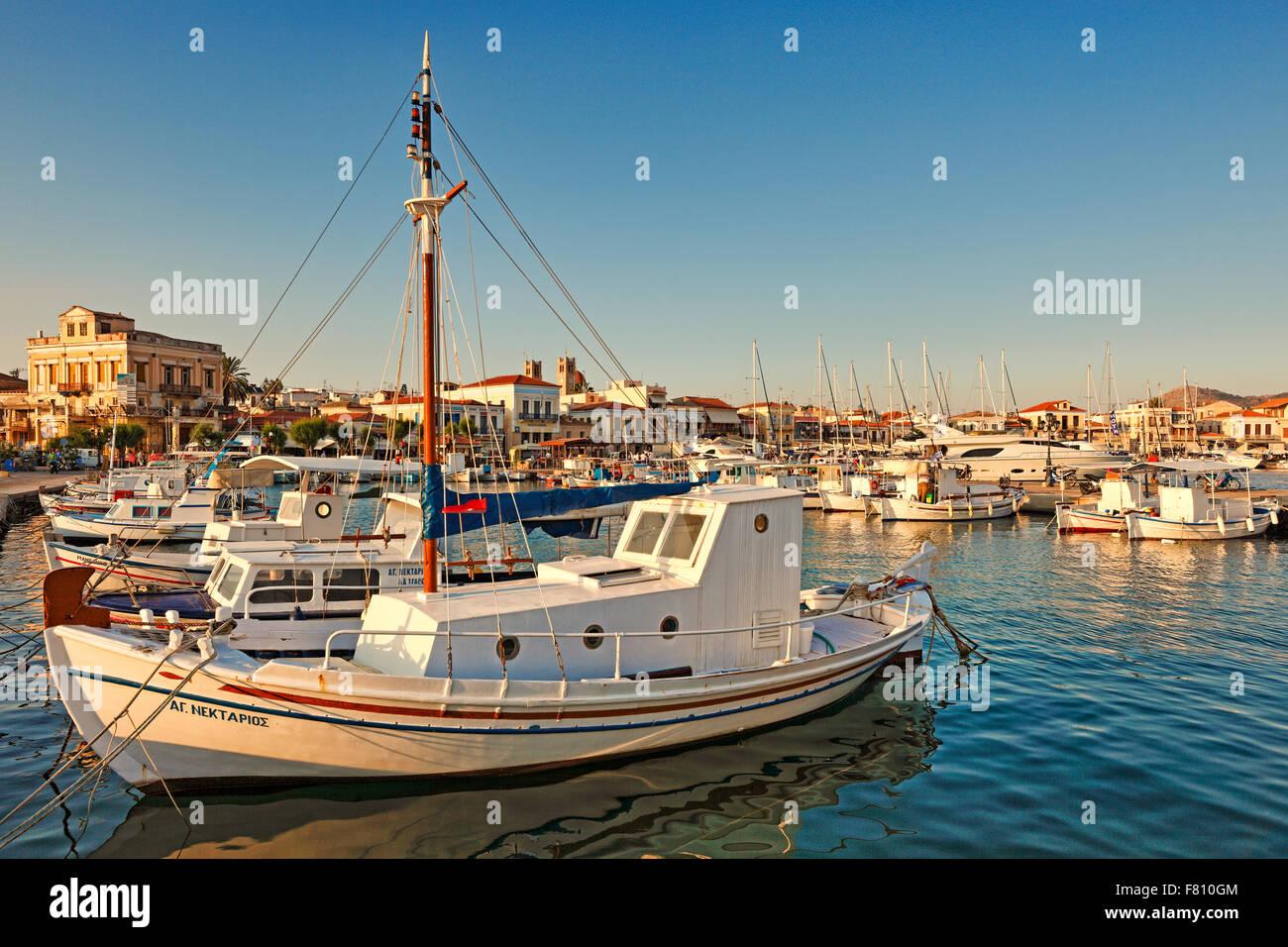 Boats in the port of Aegina island, Greece - Stock Image