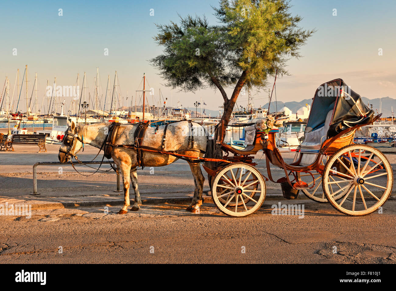 A horse drawn carriage in the port of Aegina island, Greece - Stock Image