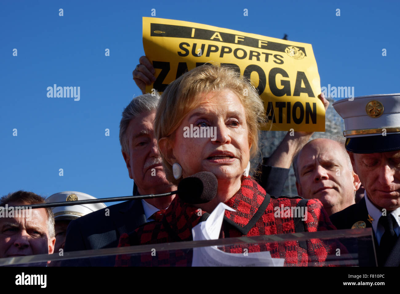 Rep. Carolyn Maloney speaking at a rally at the Capitol building in Washington, D.C. in support of the Zadroga health - Stock Image