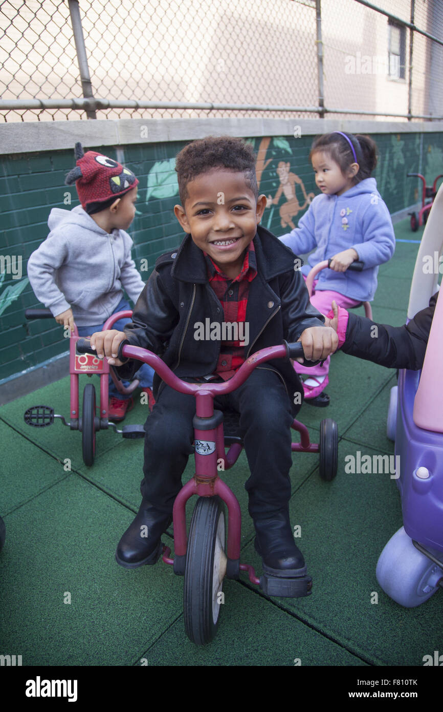Children at preschool on the lower east side, Manhattan, NYC. - Stock Image