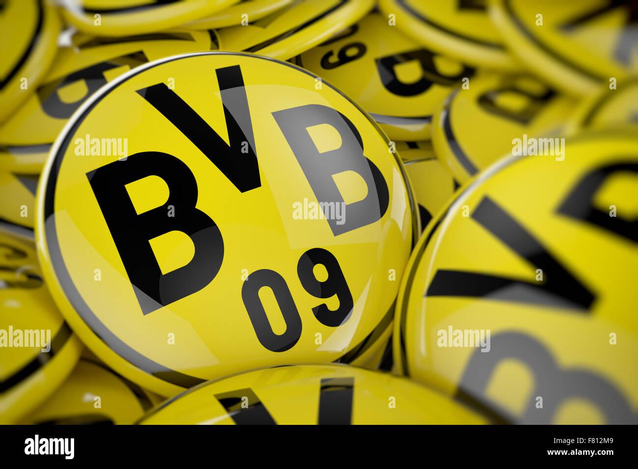 3D illustration of box full of Borussia Dortmund buttons - Stock Image