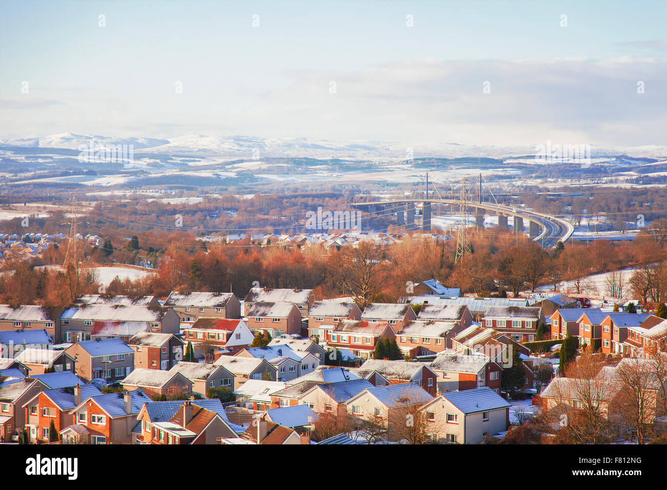 Image of the scottish town of Clydebank with the Erskine bridge. Glasgow,Scotland. - Stock Image