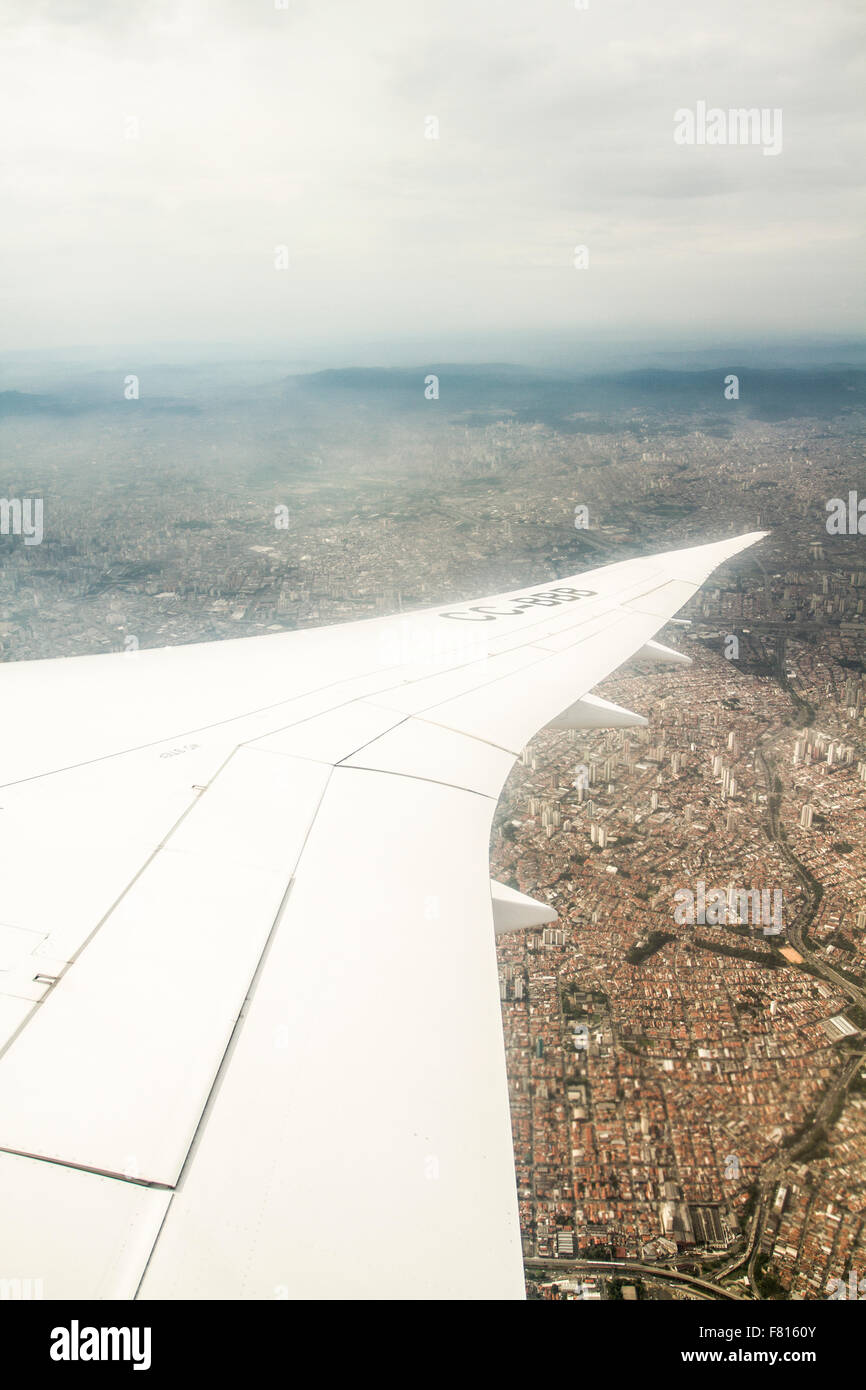 City of Sao Paulo viewed from an airplane window. Sao Paulo, Sao Paulo, Brazil. - Stock Image