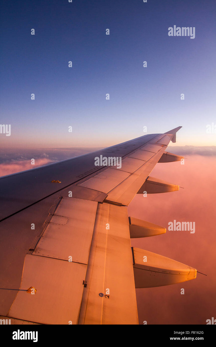 View from an airplane window, somewhere near Santiago, Chile. - Stock Image