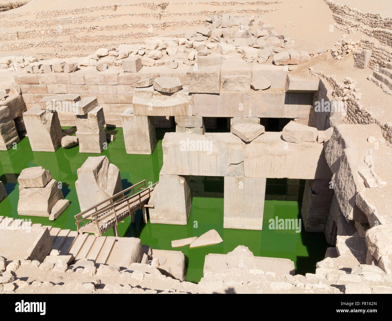 The Osireion at the Temple of Seti I at Abydos, with bright green algae in water, Nile Valley, Egypt, Africa Stock Photo