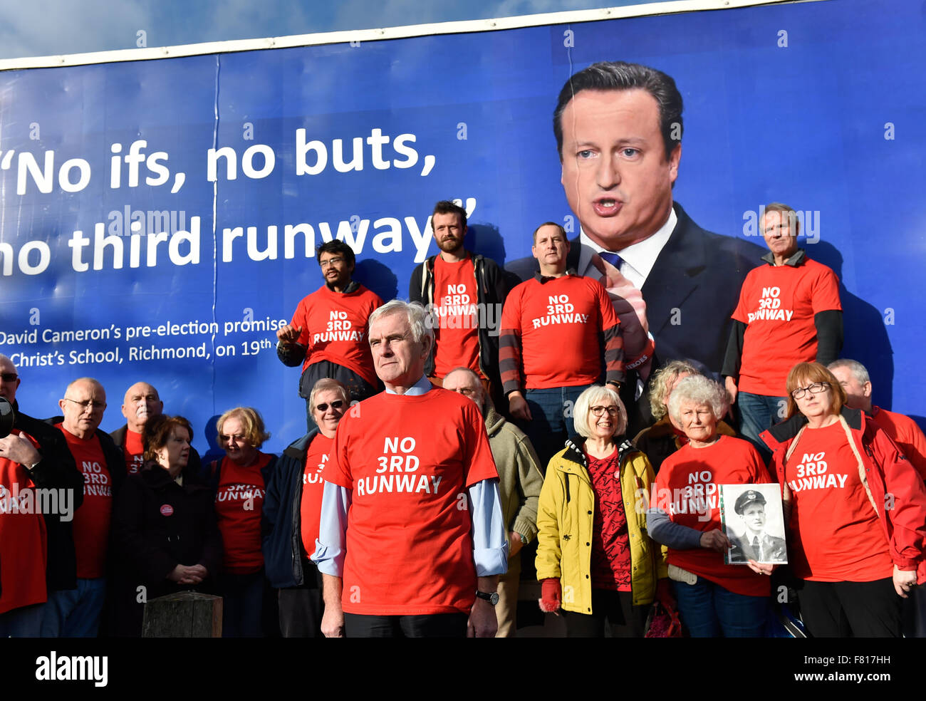 John McDonnelL MP attends greets the new 3rd Runway Protest ADVAN at harmondsworth Village Near Heathrow Airport. - Stock Image