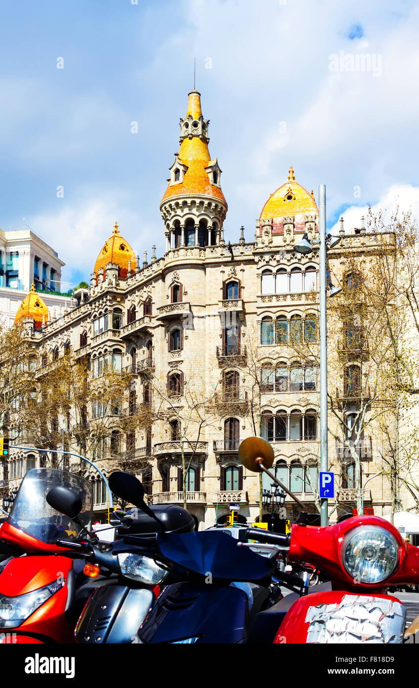 Pons houses, built in 1890–1891 by Catalan architect Enric Sagnier. Barcelona, Spain - Stock Image