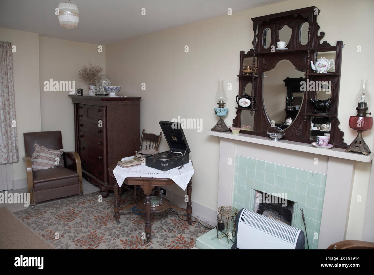 1950s house interior. Old Fashioned Living Room  British 1950s Style Stock Photo 90998128
