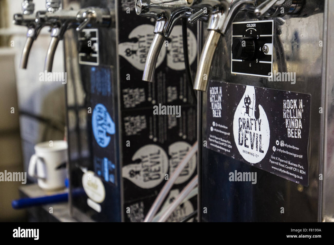 Cardiff, United Kingdom, November 26 2015. Brewing equipment at the Crafty Devil Microbrewery, Canton, Cardiff, - Stock Image