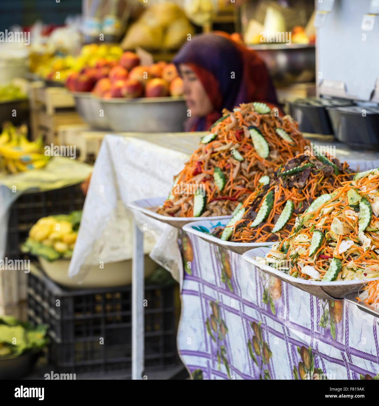 Oriental food - Osh market, Kyrgyzstan. - Stock Image