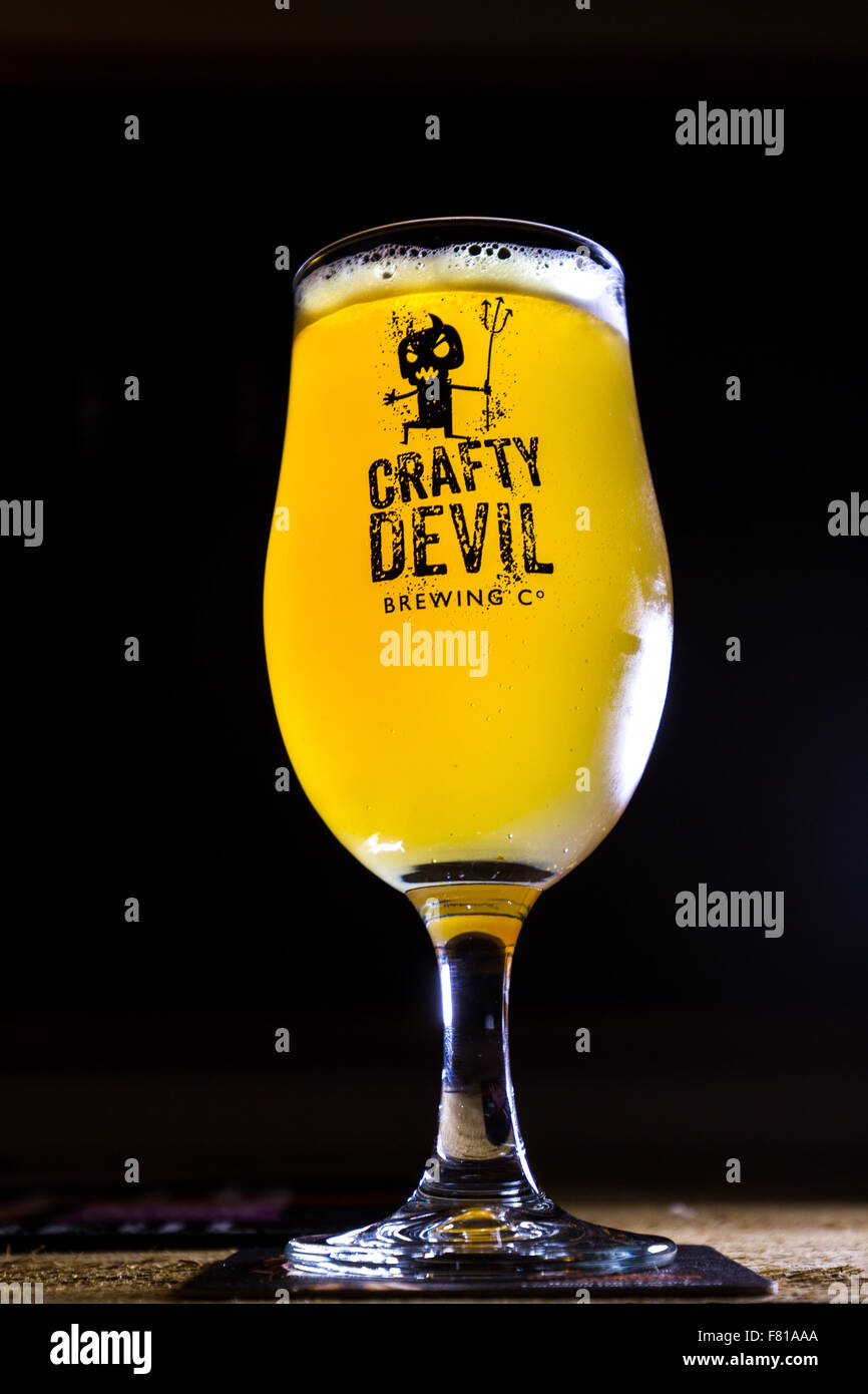 Cardiff, United Kingdom, November 26 2015. Crafty Devil Beer - Stock Image