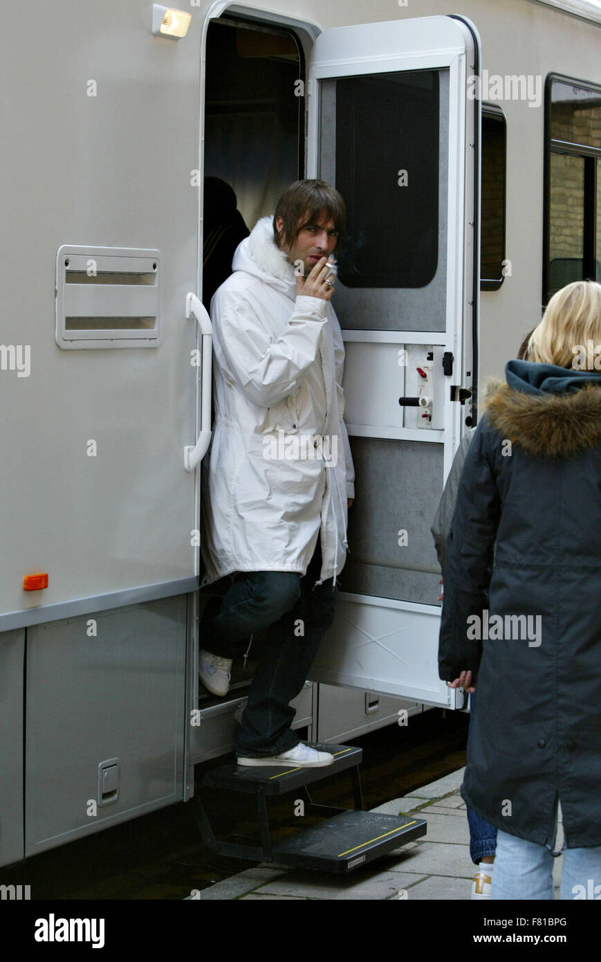 Liam Gallagher Leaving trailer making video for Heathen Chemistry, Little By Little, city of London (credit image© - Stock Image
