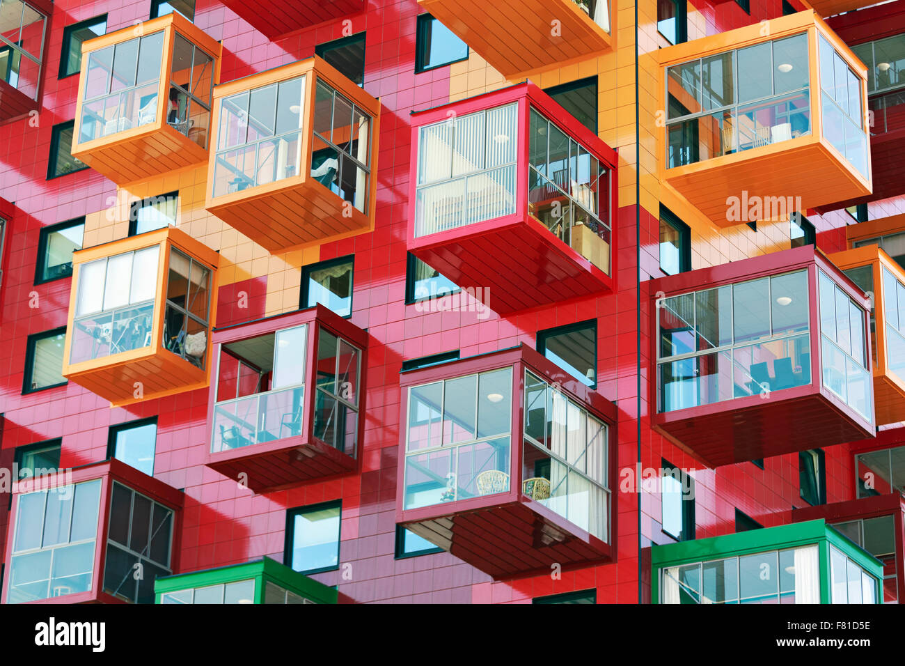 Colorful residential tower, Ting 1, with balconies and colourful facades, detail, architect Gert Wingårdh, - Stock Image