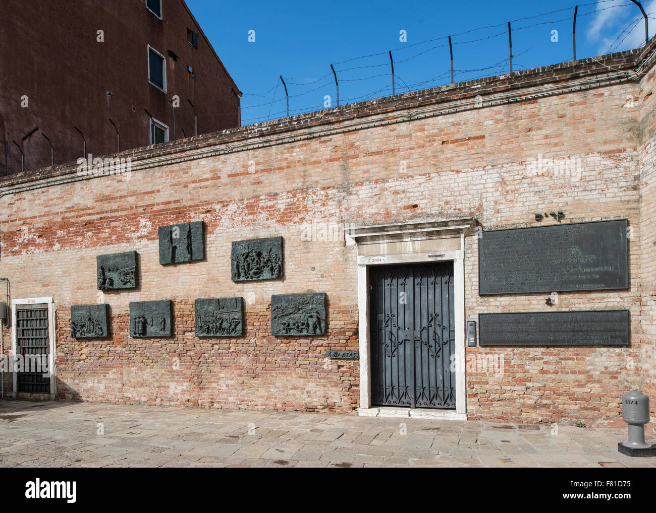 Memorial wall, Campo Ghetto Nuovo, Ghetto, Jewish ghetto from the 16th century, Cannaregio, Venice, Veneto, Italy - Stock Image
