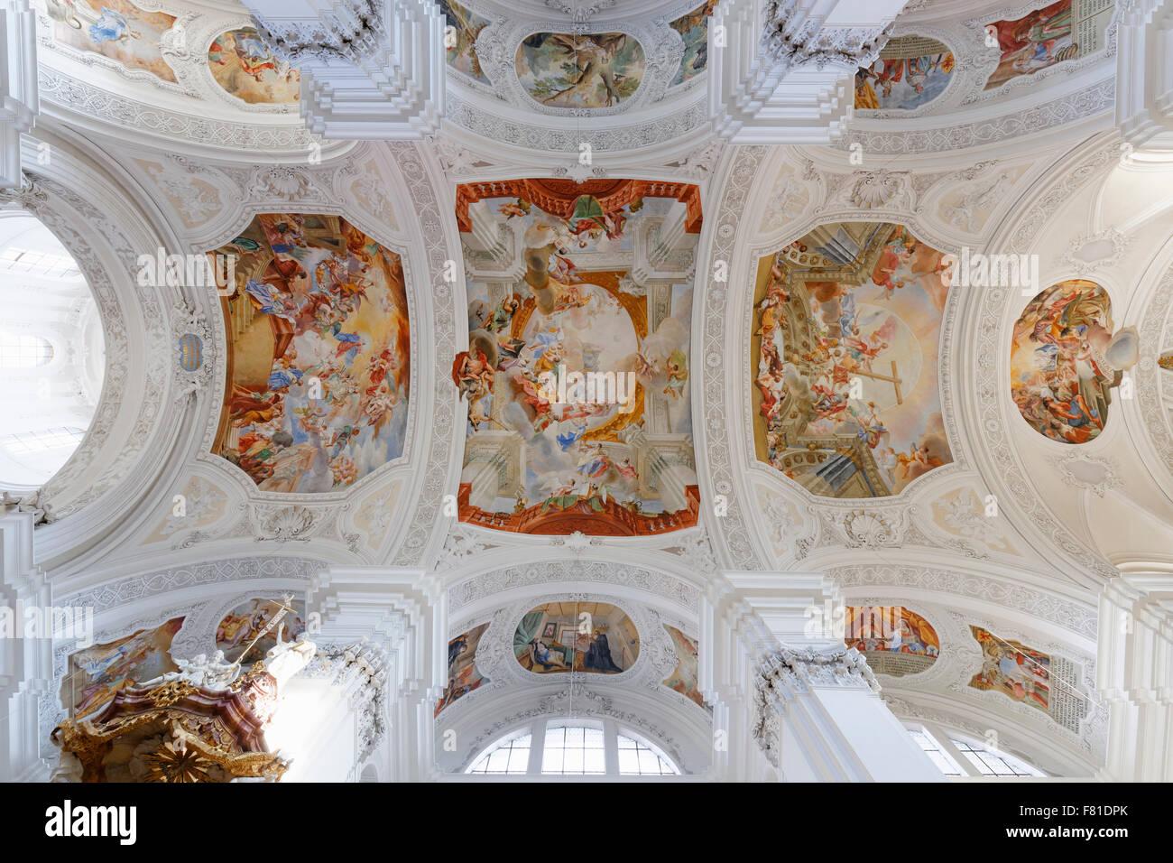 Ceiling frescoes by Cosmas Damian Asam, Basilica of St. Martin, Weingarten, Upper Swabia, Baden-Württemberg, - Stock Image