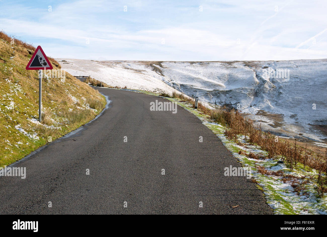 Narrow country road from the Elan Valley to Rhayader in Powys Wales UK. - Stock Image