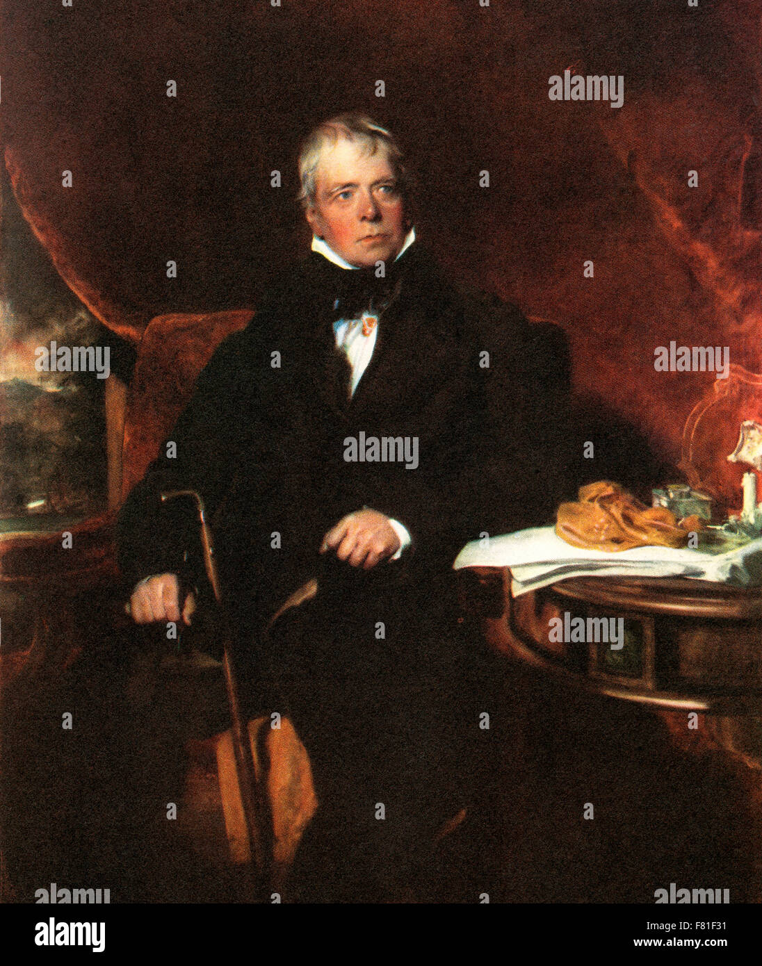 Sir Walter Scott, 1st Baronet, 1771 – 1832.  Scottish historical novelist, playwright and poet. After the painting - Stock Image