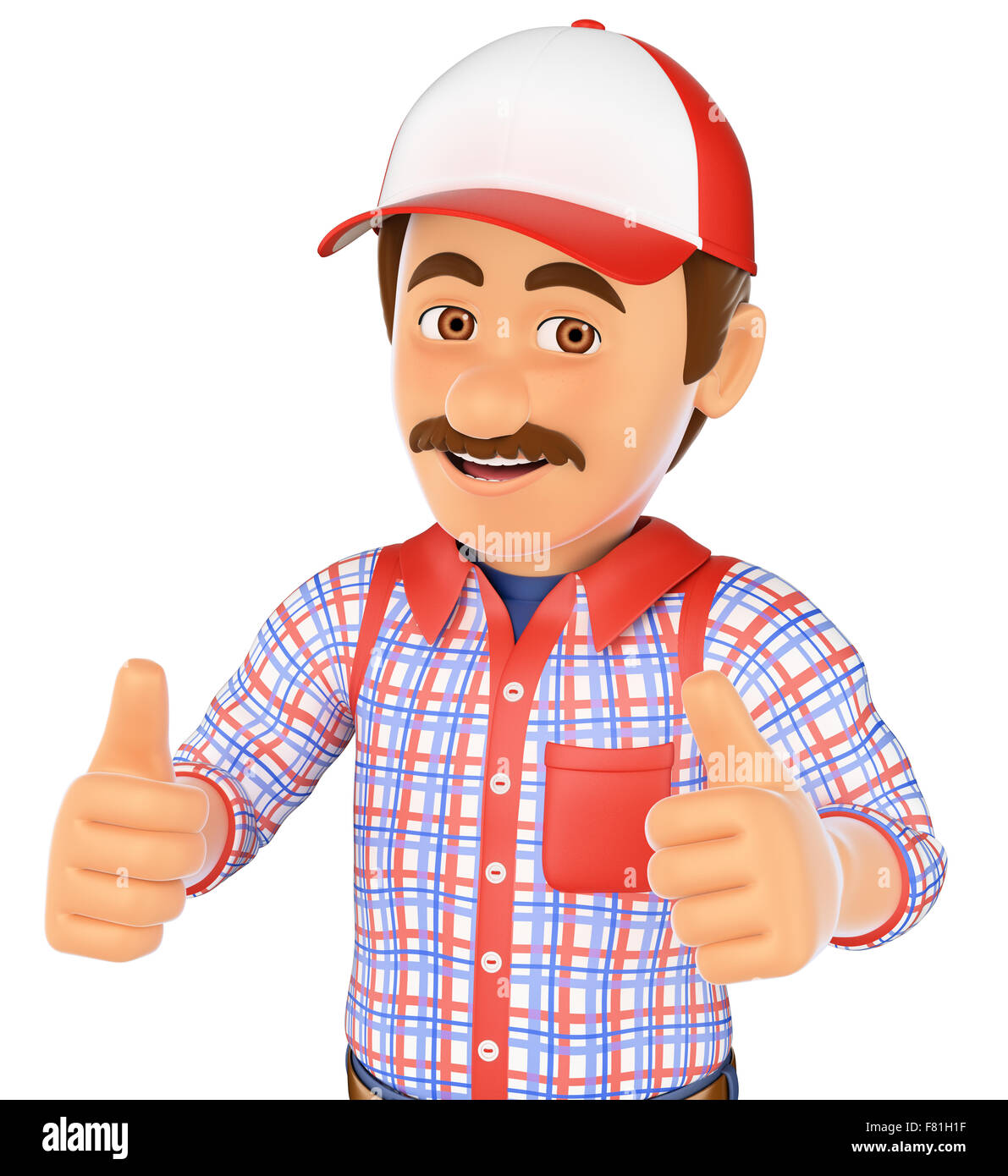 3d working people. Handyman with two thumbs up. Isolated white background. - Stock Image