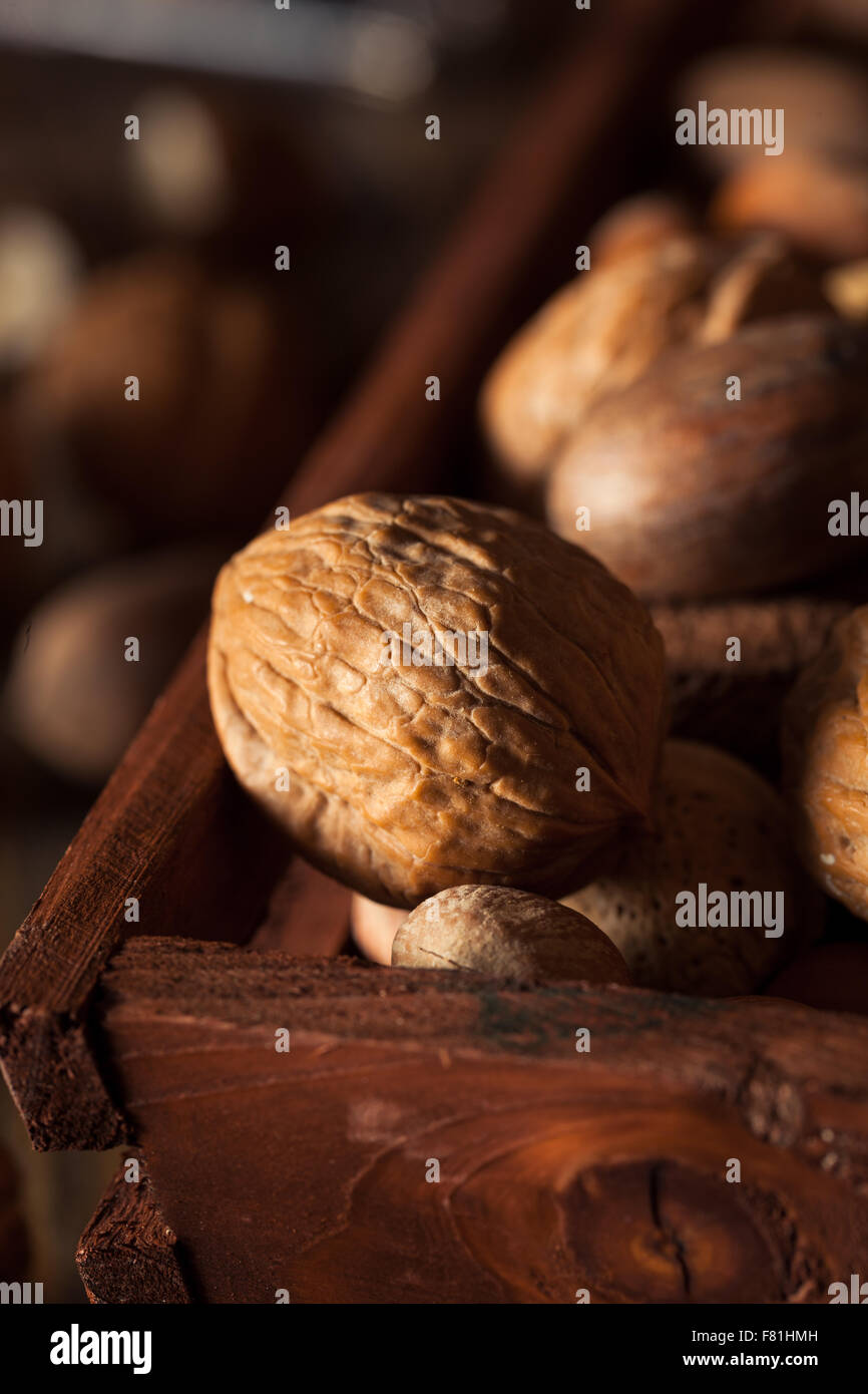 Assorted Mixed Organic Nuts with Walnuts Almonds and Pecans - Stock Image