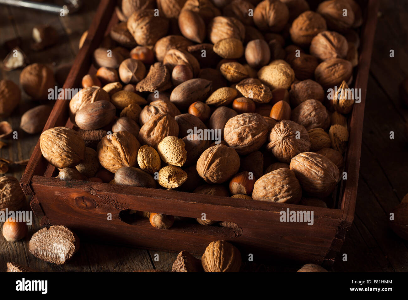 Assorted Mixed Organic Nuts with Walnuts Almonds and Pecans Stock Photo