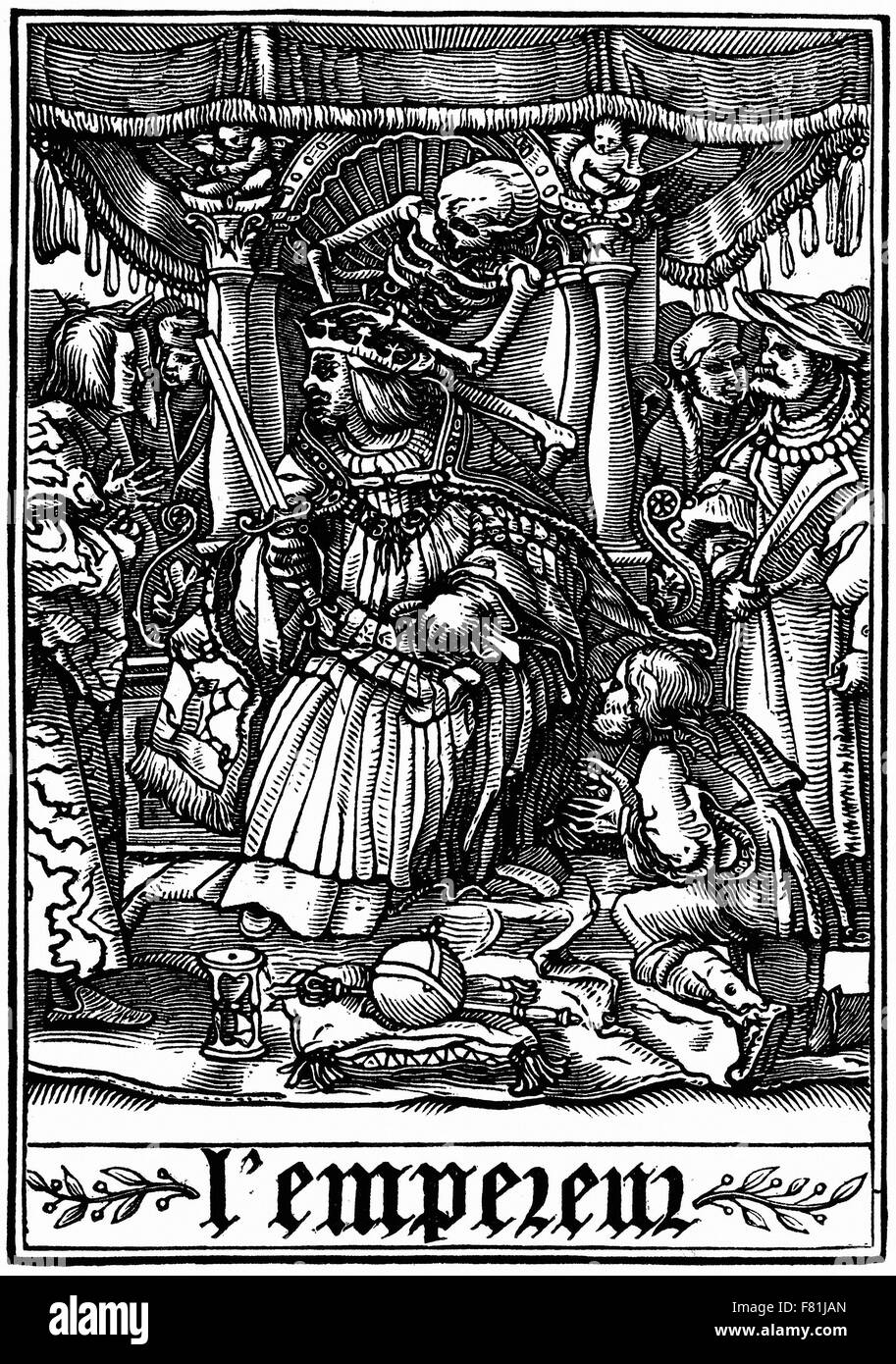 Hans Holbein the Younger - The Emperor visited by Death - Les Simulacres de la Mort (Dance of Death) - Wood engraving - Stock Image