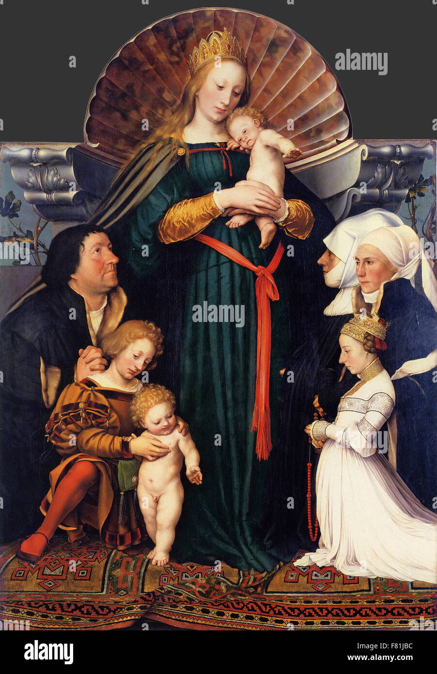 Hans Holbein the Younger - Darmstadt Madonna - Stock Image