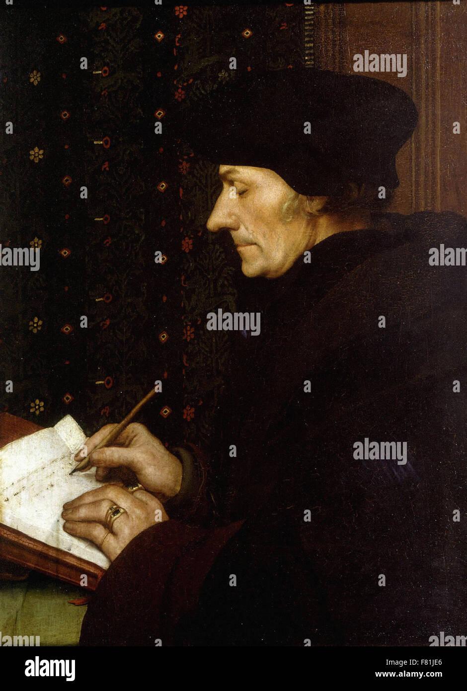 Hans Holbein the Younger - Portrait of Erasmus - Louvre Museum Paris - Stock Image