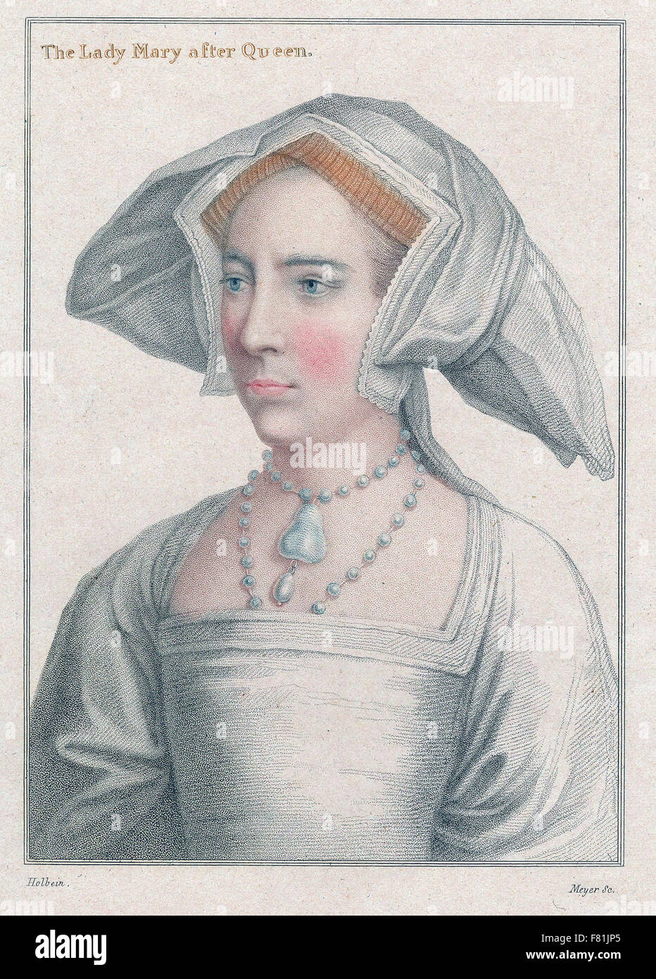 Mary Tudor (Bloody Mary) daughter of Henry VIII and Catherine of Aragon, half-sister of Elizabeth I - Engraving - Stock Image