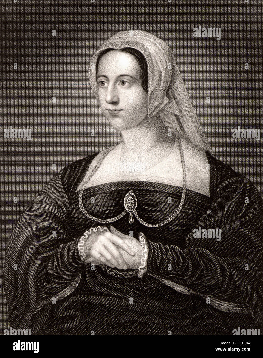 Catherine Parr  sixth queen of Henry VIII of England  and, after she had been widowed, wife of Thomas Seymour - - Stock Image