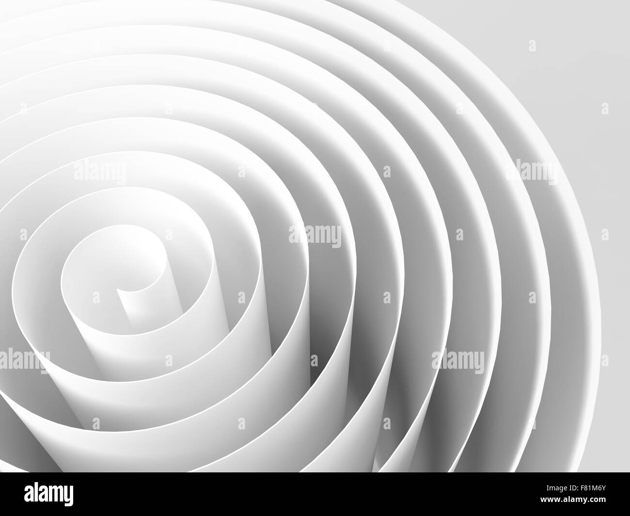 White 3d spiral made of paper tape with soft shadows, abstract digital illustration, background pattern - Stock Image