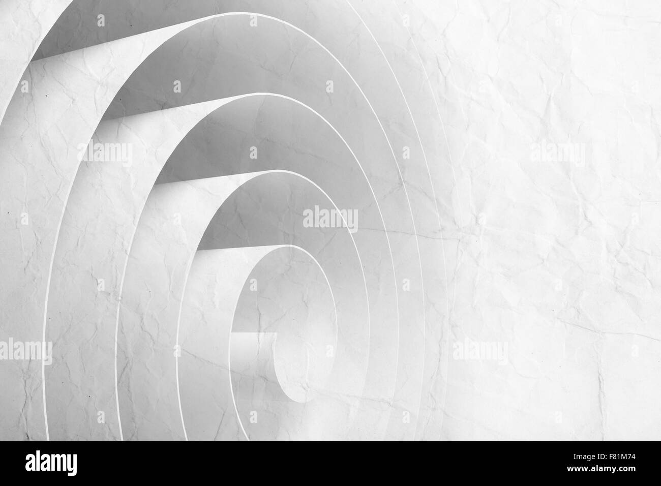 3d spiral made of paper tape with material texture, abstract digital illustration, background pattern - Stock Image
