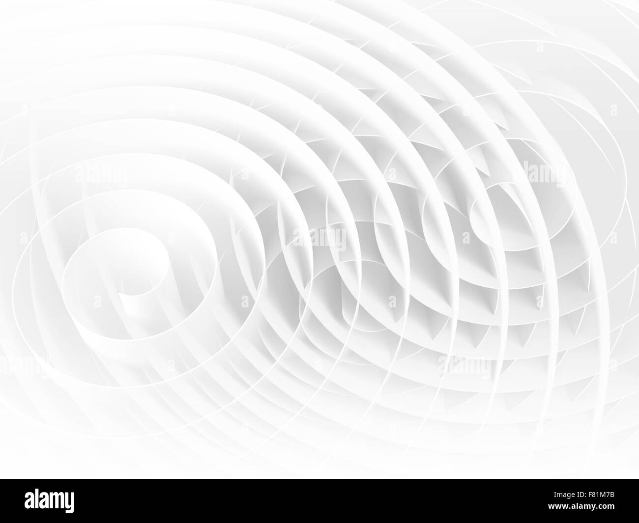 White 3d spirals with soft shadows, abstract digital illustration, background pattern - Stock Image