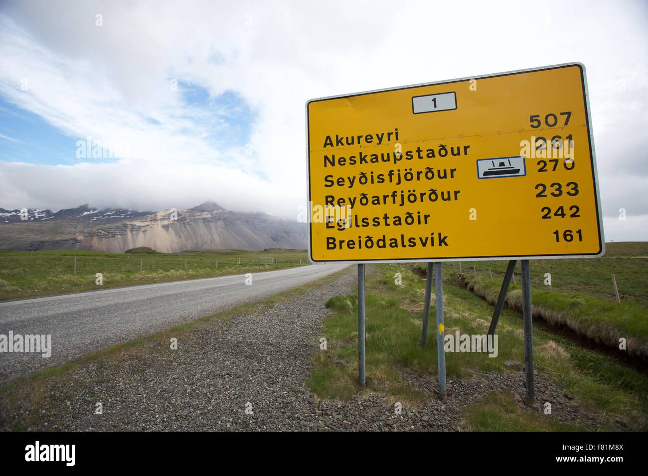 Road sign showing distances in Iceland - Stock Image