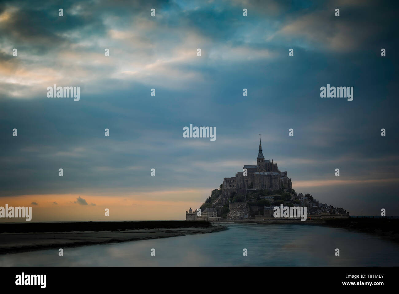 Colorful twilight over Mont Saint Michel, Normandy, France - Stock Image